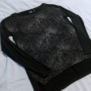 3/$20 a.n.a. Metallic Print Sweater - Black